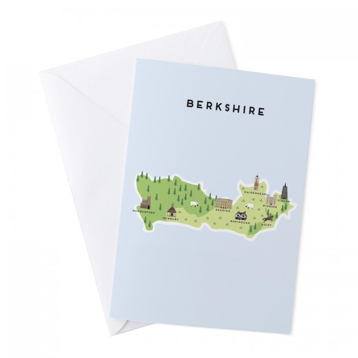 Place in Print Pepper Pot Studios Berkshire Illustrated Map Greetings Card
