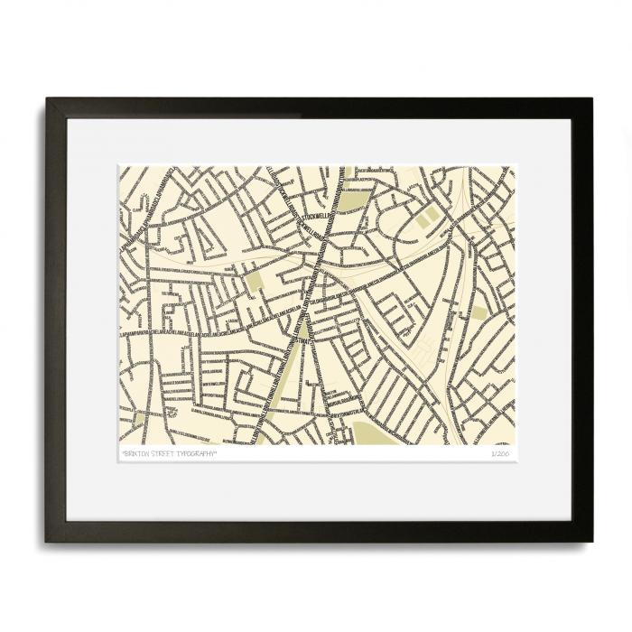 Brixton Street Typography Map Art Poster Print