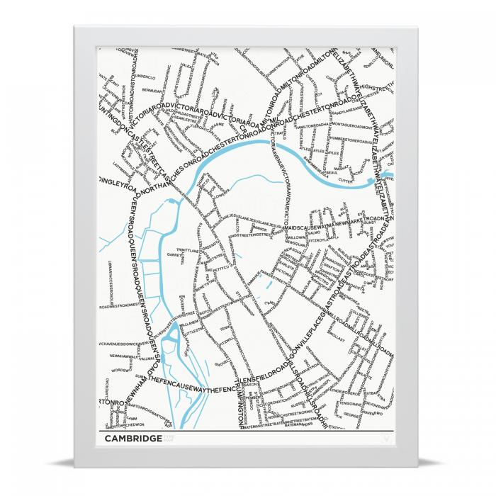 Place in Print Cambridge Typographic Street Map Art Poster Print
