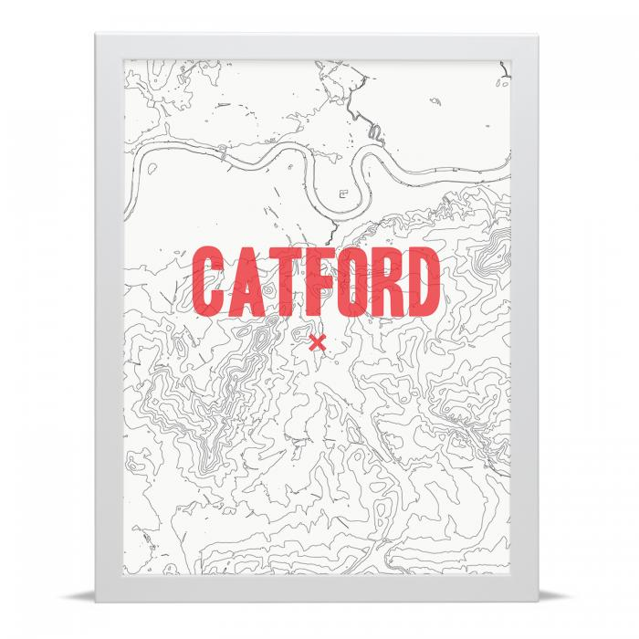 Place in Print Catford Contour Map Art Print