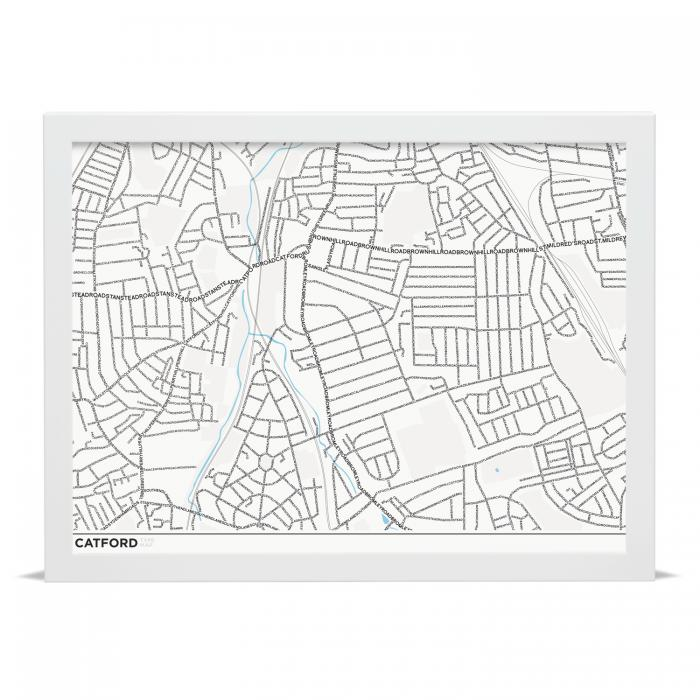Place in Print Catford SE6 Type Map Typography Art Print