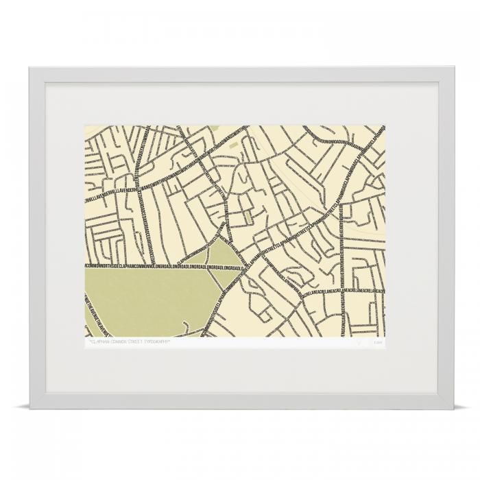 b1cdcecdde20a Place in Print South London Prints Clapham Common Street Typography  Typographic Map Art Print