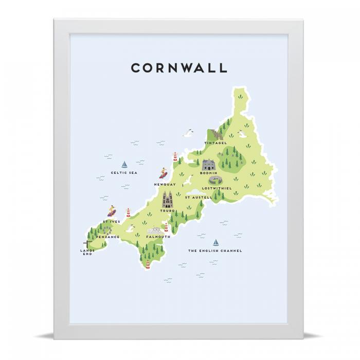 Place in Print Pepper Pot Studios Cornwall Illustrated Map Art Print