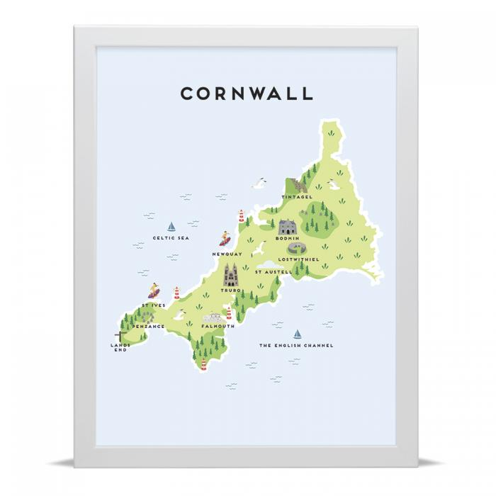 Place in Print Pepper Pot Studios Cornwall Illustrated Map Art Print