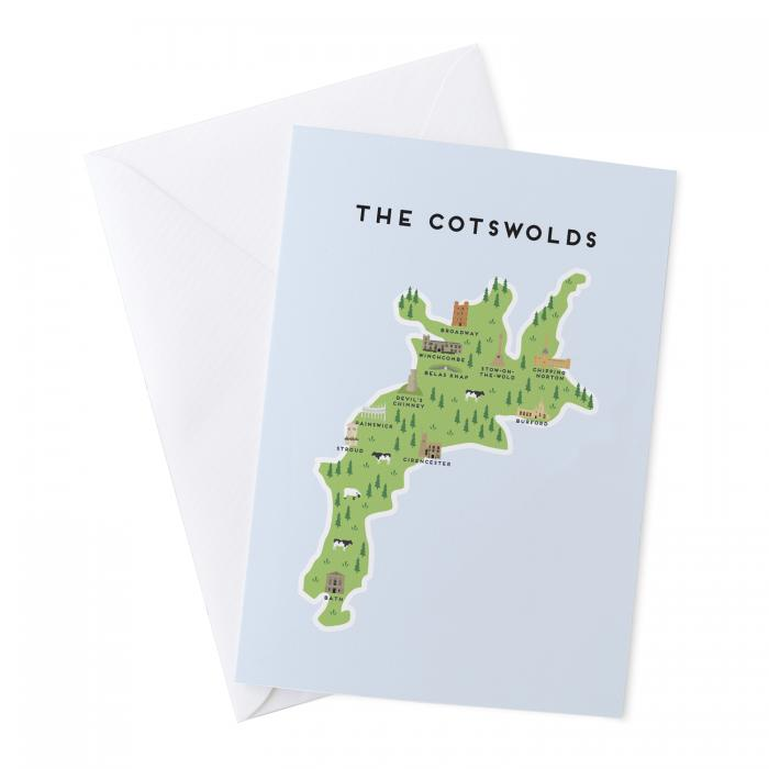 Place in Print Pepper Pot Studios Cotswolds Illustrated Map Greetings Card
