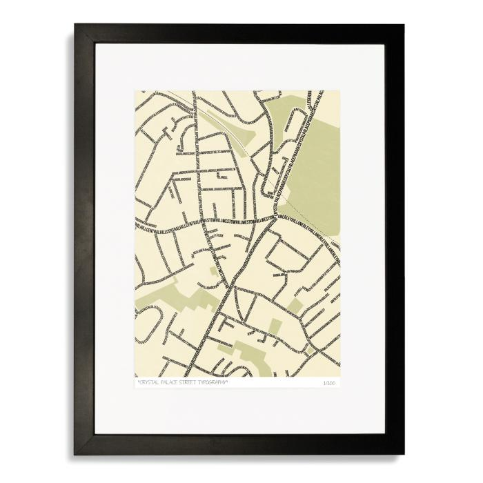 Crystal Palace Street Typography Map Art Poster Print