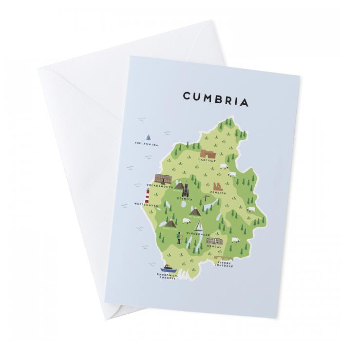 Place in Print Pepper Pot Studios Cumbria Illustrated Map Greetings Card
