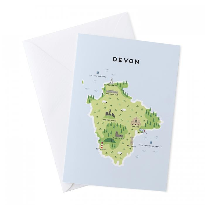 Place in Print Pepper Pot Studios Devon Illustrated Map Greetings Card