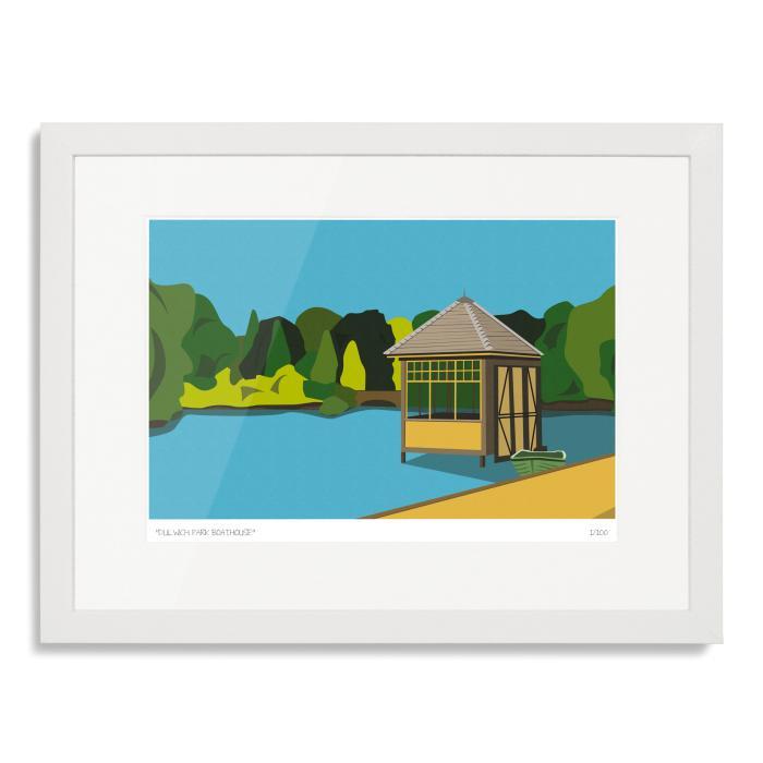 Dulwich Park Boathouse Art Poster Print