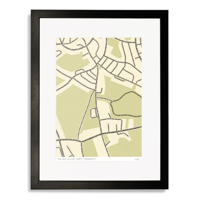 Dulwich Village Street Typography Map Art Poster Print