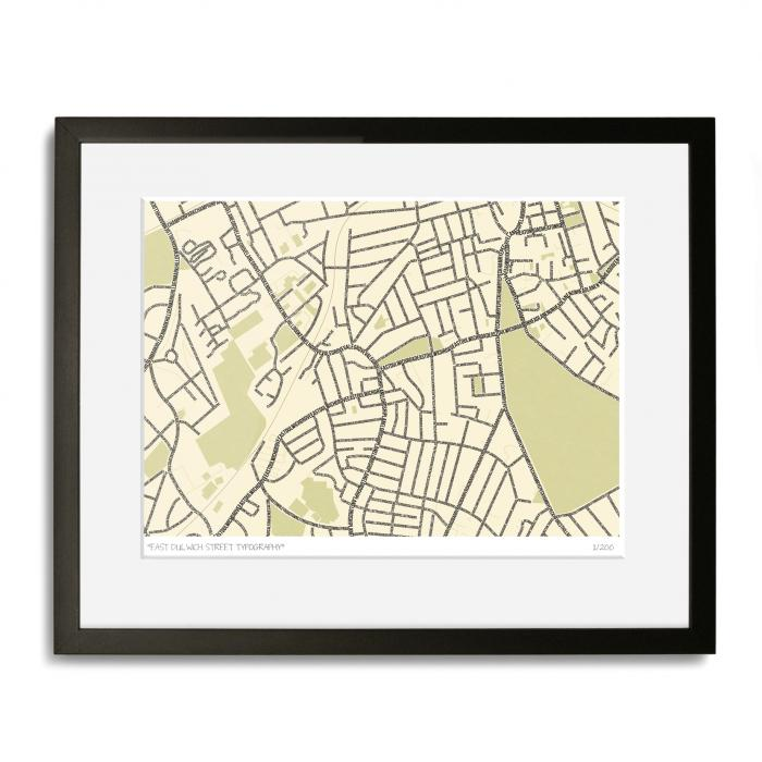 East Dulwich Street Typography Map Art Poster Print