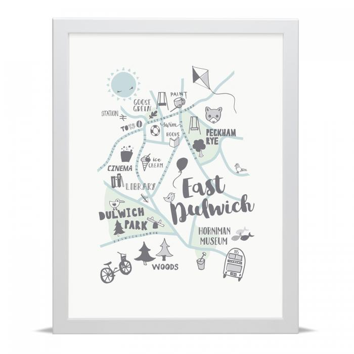 Place in Print Small Dots East Dulwich Kid Child Map Art Print