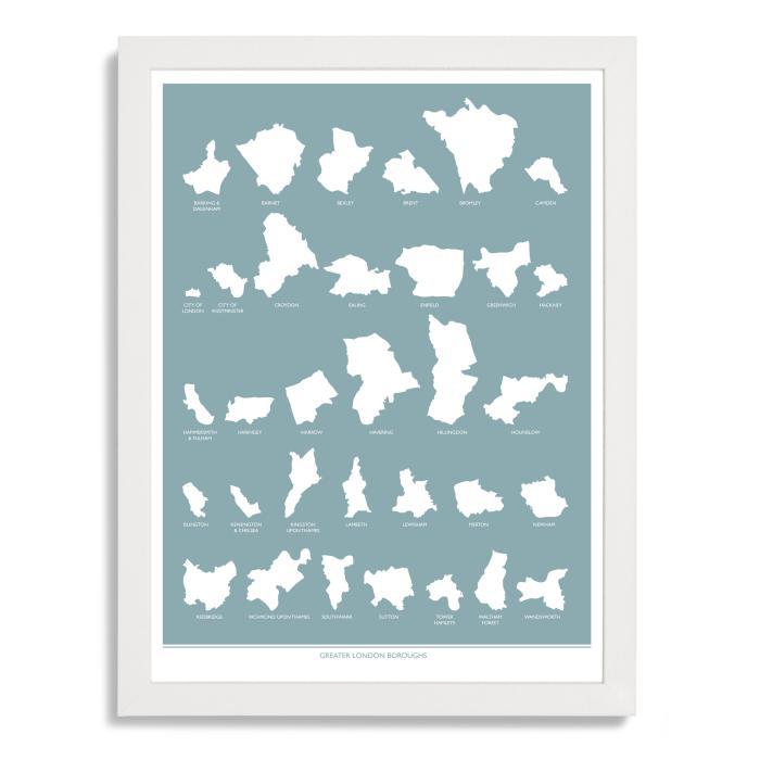 Place in Print Greater London Boroughs Blue Art Print