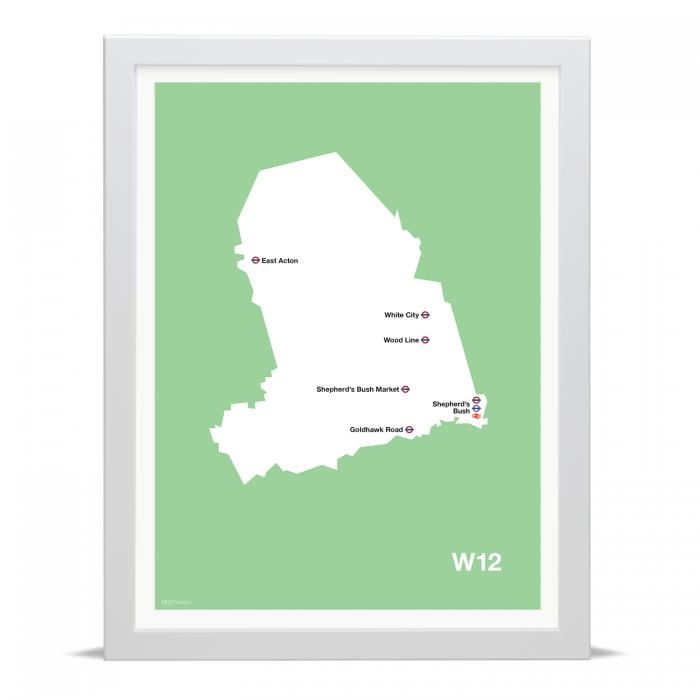 Place in Print MDLThomson W12 Postcode Map Art Print