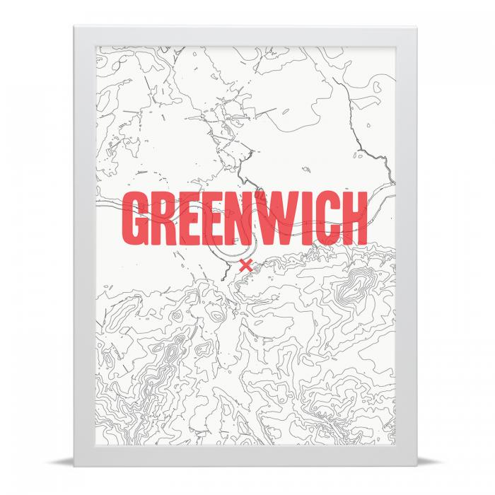 Place in Print Greenwich Contour Map Art Print