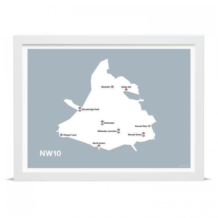 Place in Print MDLThomson NW10 Postcode Map Art Print