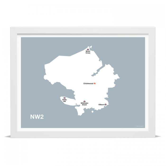 Place in Print MDLThomson NW2 Postcode Map Art Print