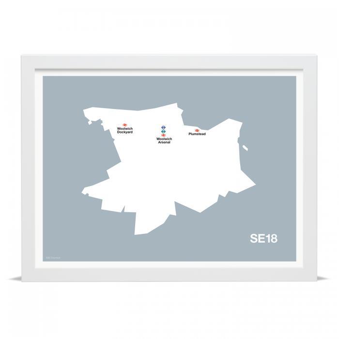Place in Print MDLThomson SE18 Postcode Map Art Print
