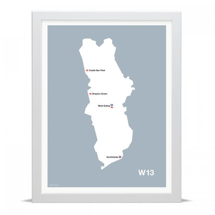 Place in Print MDLThomson W13 Postcode Map Art Print