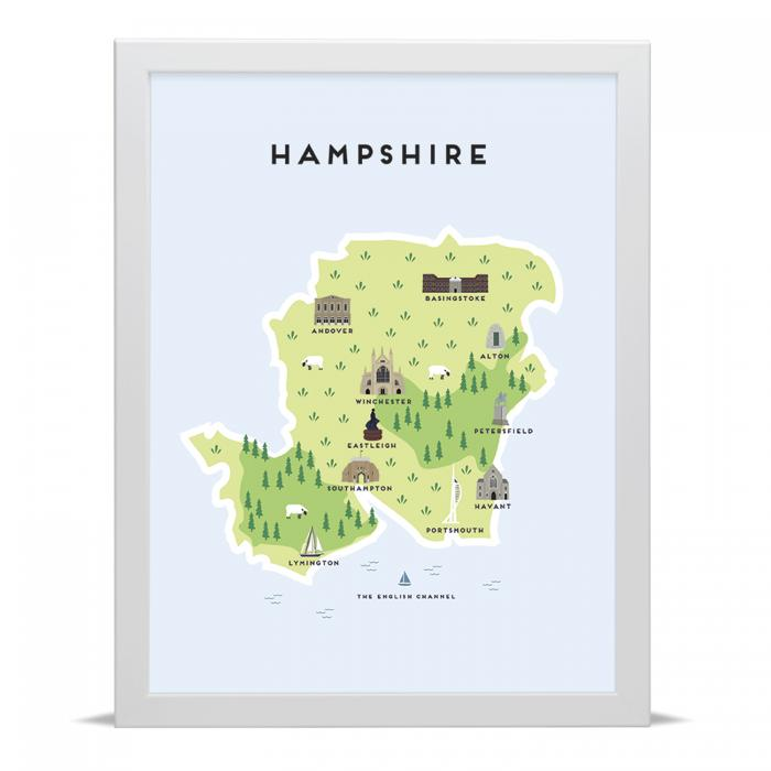 Place in Print Pepper Pot Studios Hampshire Illustrated Map Art Print