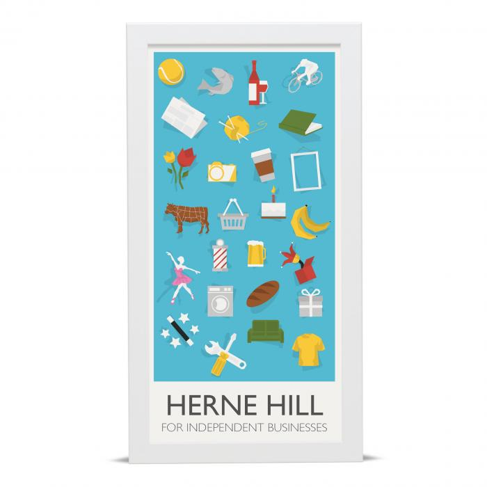 Place in Print Herne Hill Lamppost Banners Independent Businesses Art Poster Print