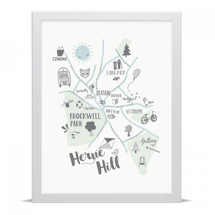 Place in Print Small Dots Herne Hill Kids Childs Map Art Print