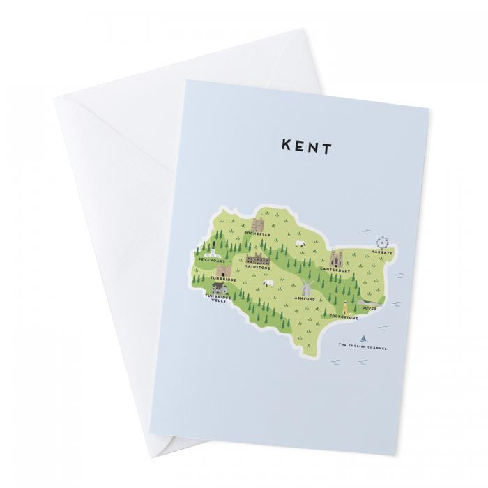 Place in Print Pepper Pot Studios Kent Illustrated Map Greetings Card