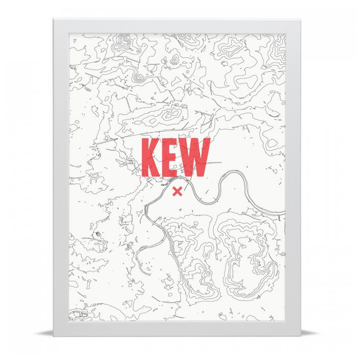 Place in Print Kew Contour Map Art Print