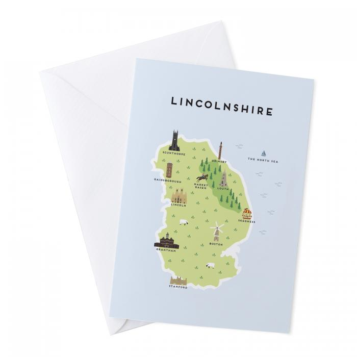 Place in Print Pepper Pot Studios Lincolnshire Illustrated Map Greetings Card