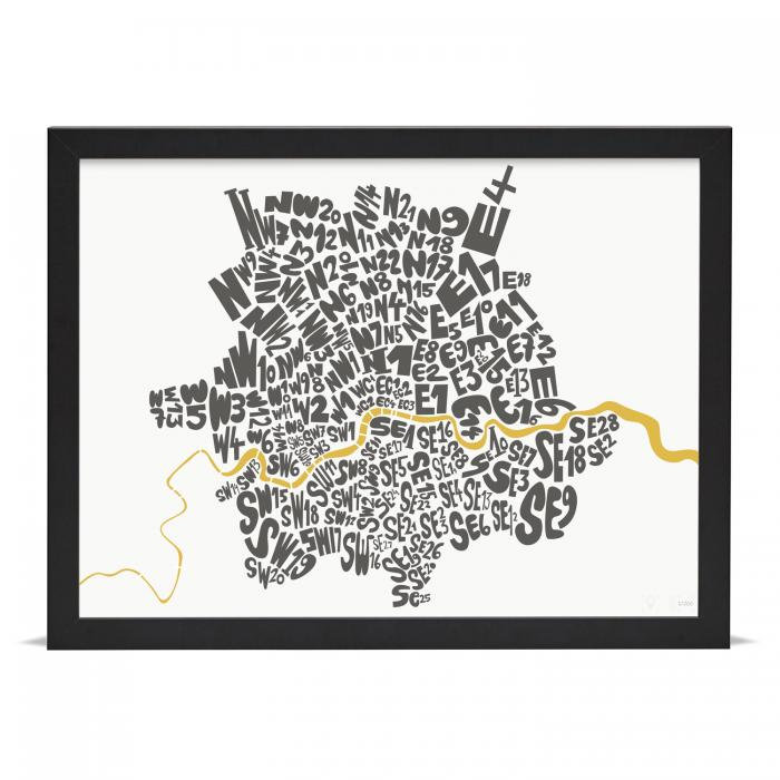 Place in Print London Postcodes Black Gold Art Poster Print