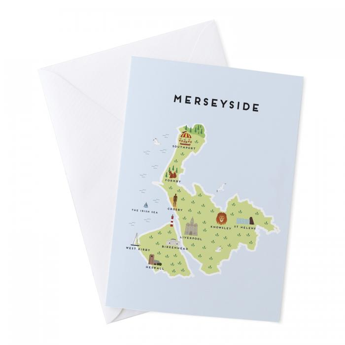 Place in Print Pepper Pot Studios Merseyside Illustrated Map Greetings Card