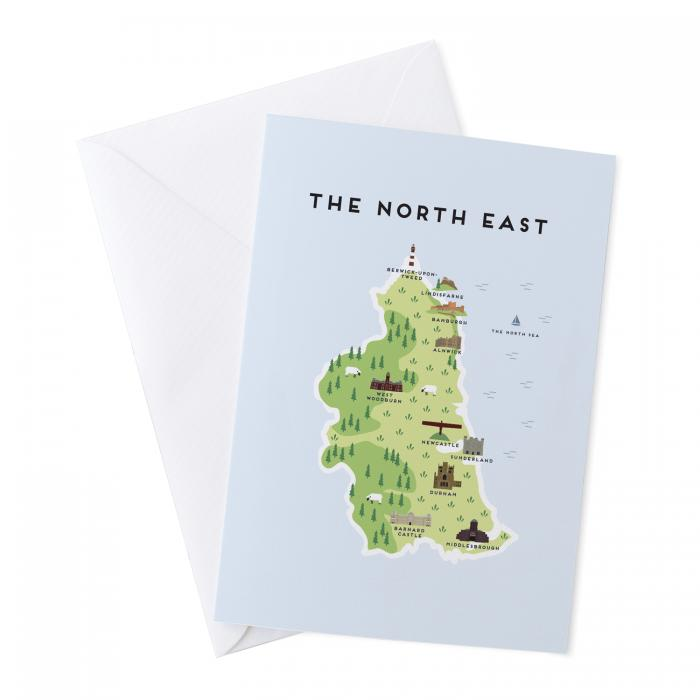 Place in Print Pepper Pot Studios the North East Illustrated Map Greetings Card