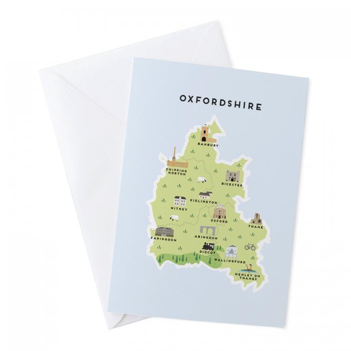 Place in Print Pepper Pot Studios Oxfordshire Illustrated Map Greetings Card
