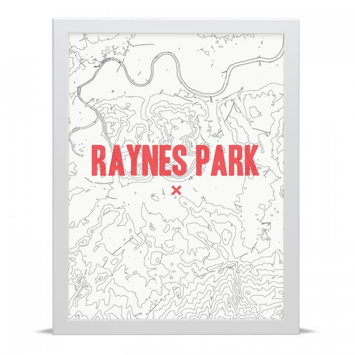 Place in Print Raynes Park Contour Map Art Print