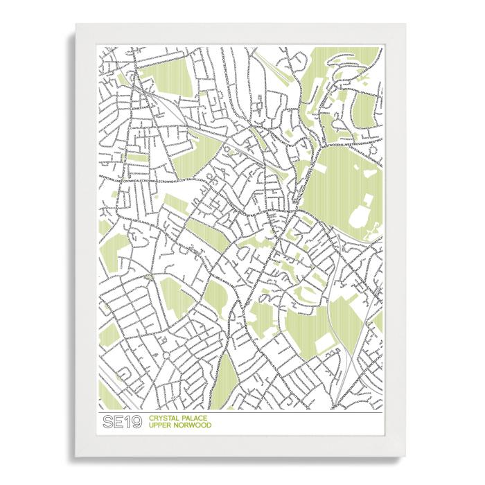 Place in Print SE19 Typographic Street Map