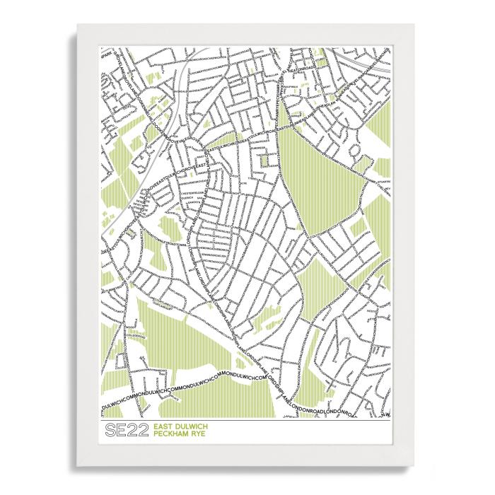 SE22 Dulwich Typographic Map Art Poster Print