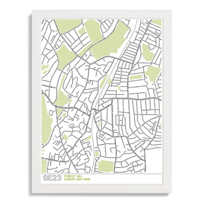 SE23 Forest Hill Typographic Map Art Poster Print