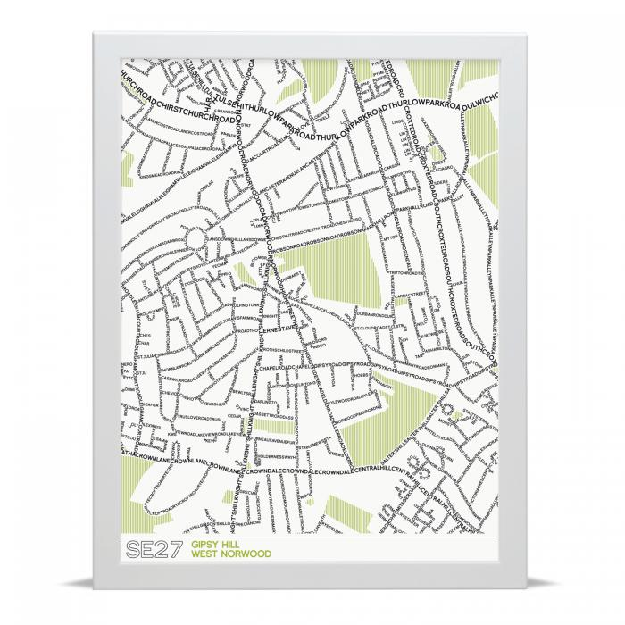 Place in Print SE27 Typographic Street Map Type Art Print
