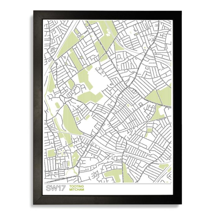 Place in Print SW17 Typographic Map Poster Print