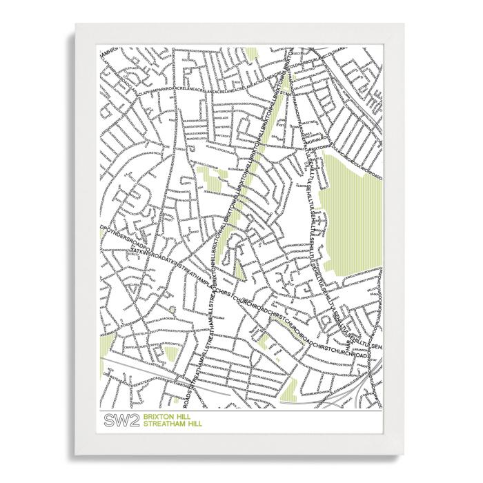 Place in Print SW2 Typographic Street Map