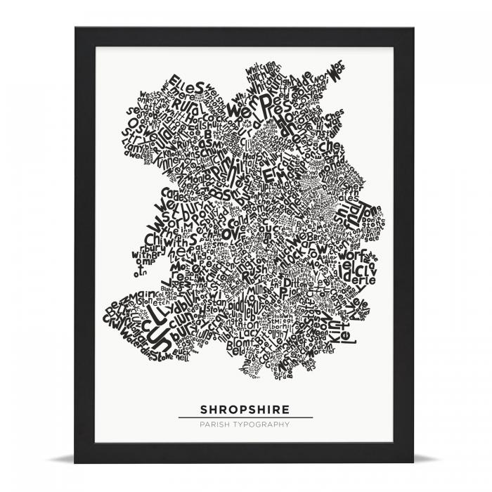 Place in Print Shropshire Typography Parish Map Art Print