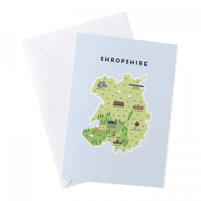 Place in Print Pepper Pot Studios Shropshire Illustrated Map Greetings Card