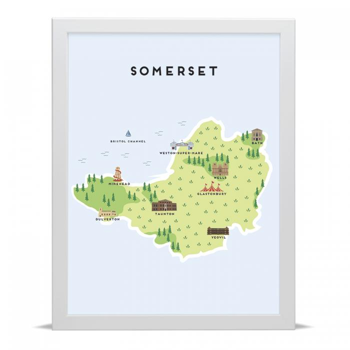 Place in Print Pepper Pot Studios Somerset Illustrated Map Art Print
