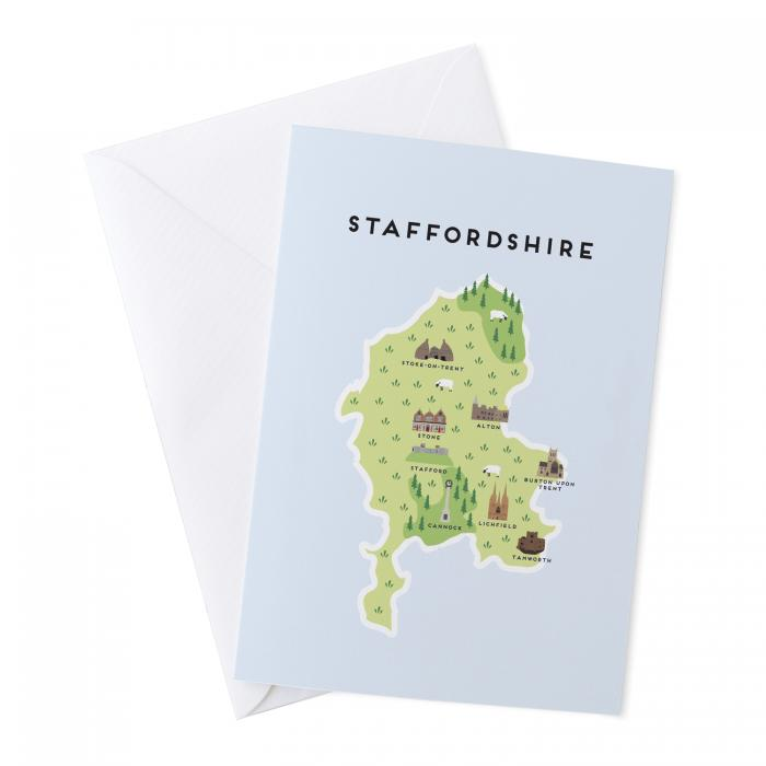 Place in Print Pepper Pot Studios Staffordshire Illustrated Map Greetings Card