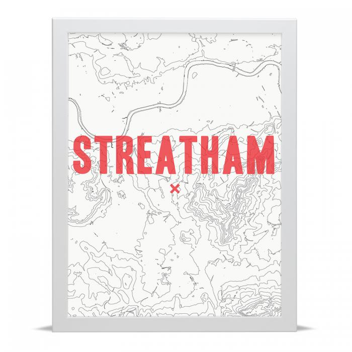 Place in Print Streatham Contour Map Art Print