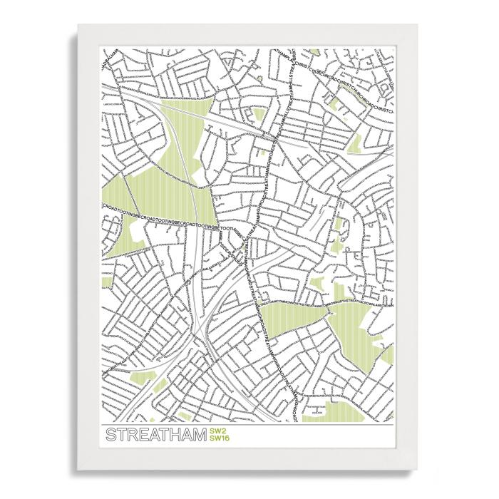 Place in Print Streatham Typographic Map Poster Print