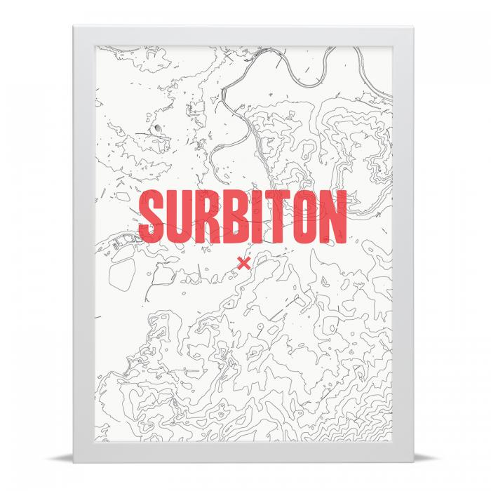 Place in Print Surbiton Contour Map Art Print
