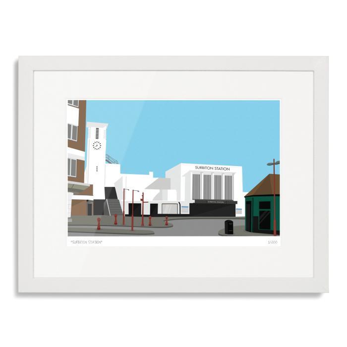 South London Prints Surbiton Station Art Poster Print