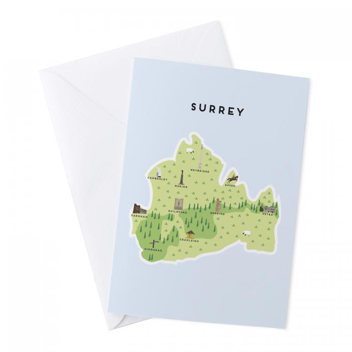 Place in Print Pepper Pot Studios Surrey Illustrated Map Greetings Card