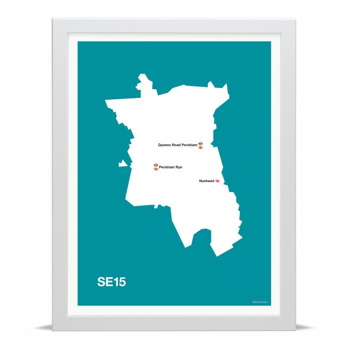 Place in Print MDLThomson SE15 Postcode Map Art Print